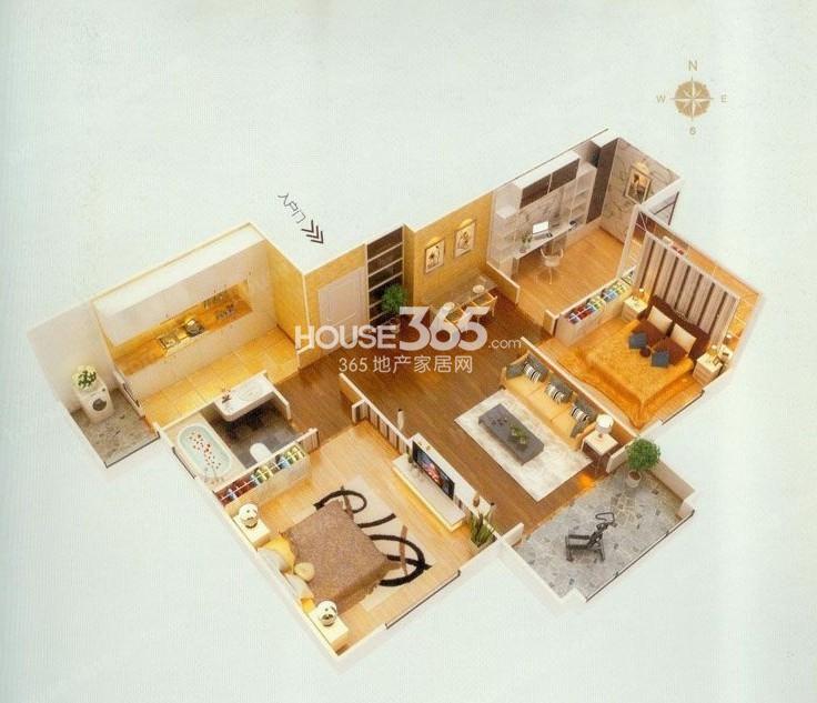 东方米兰国际城10#楼B户型3室2厅1卫1厨 94.03�O