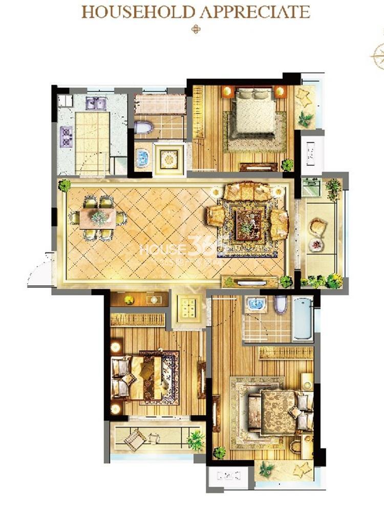 苏宁威尼斯水城12街区6、8、9、10、11#标准层C户型(7.28)