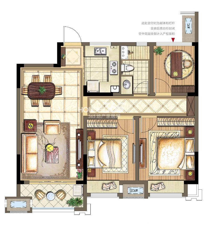 金科观天下B2-1户型2+1室两厅两卫95平米