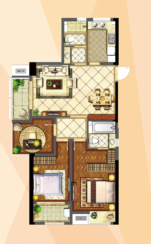 高铁新城圆融广场06户型123平米
