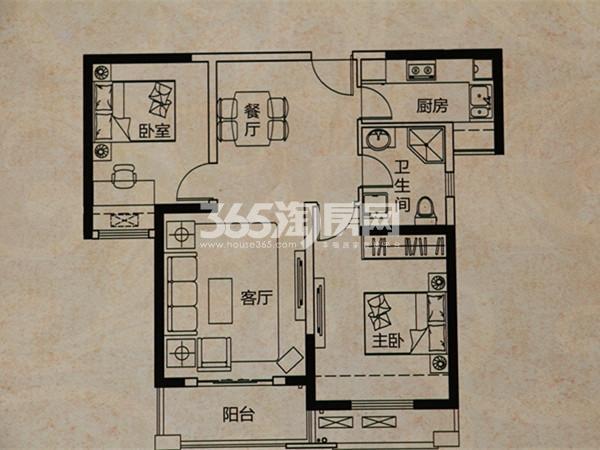 B2-2户型  2室2厅1卫  面积:90㎡