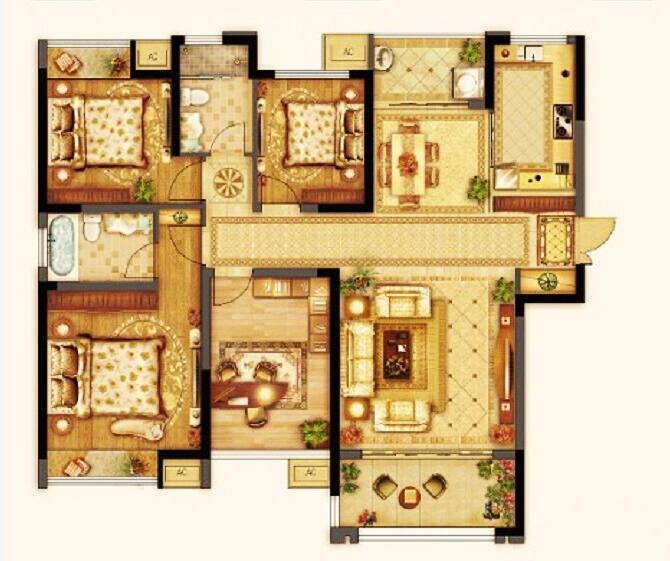 七里香都 凯旋宫 C2户型四室两厅两卫约139平 2013.11.22