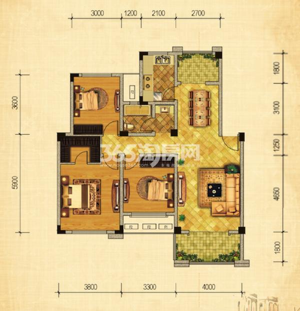 17#绿地世纪城布鲁斯小镇 三室两厅一厨一卫 111.34㎡