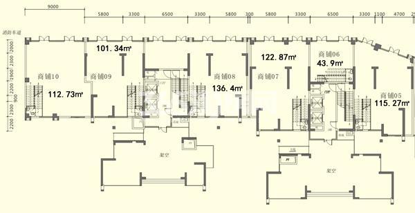 5栋05-10一层商铺平面图