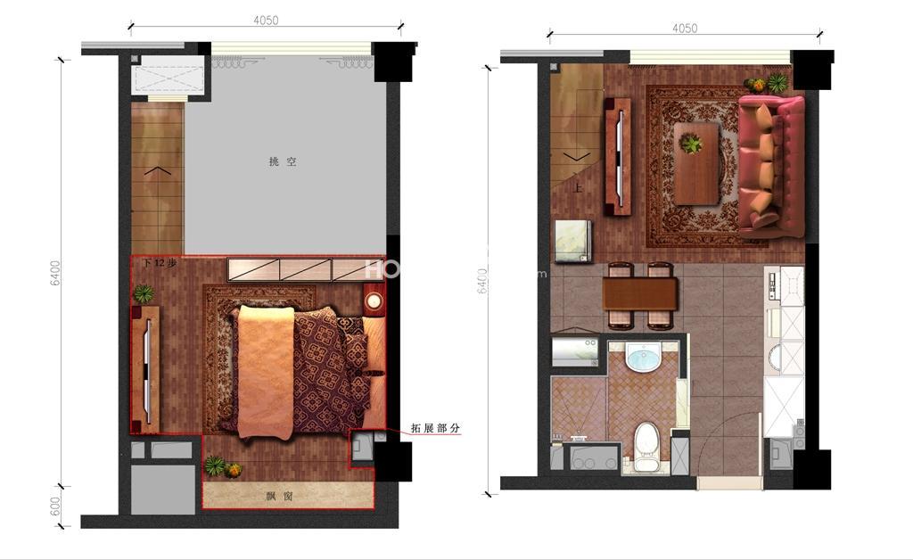 金地德圣中心soho公寓LOFT37方户型图