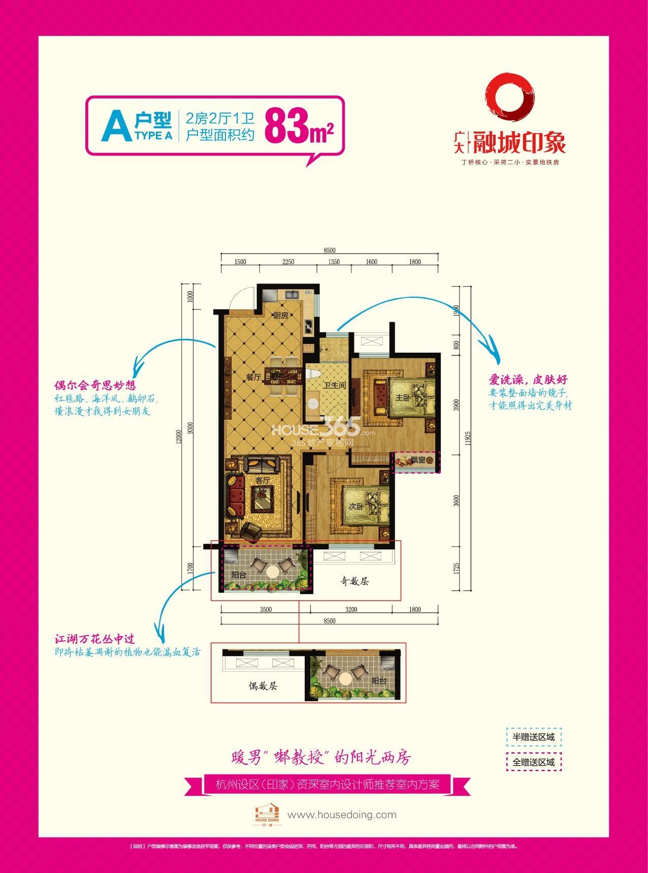 广大融城印象A户型图83方(1、2号楼)