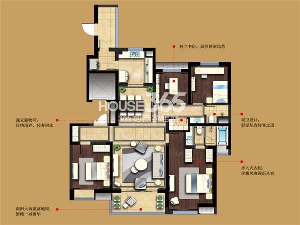 万科大明宫出云居户型4室2厅2卫1厨165.00㎡