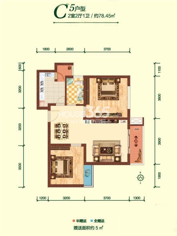 融尚中央住区户型图6/7#楼C5户型两室两厅一卫78.45㎡