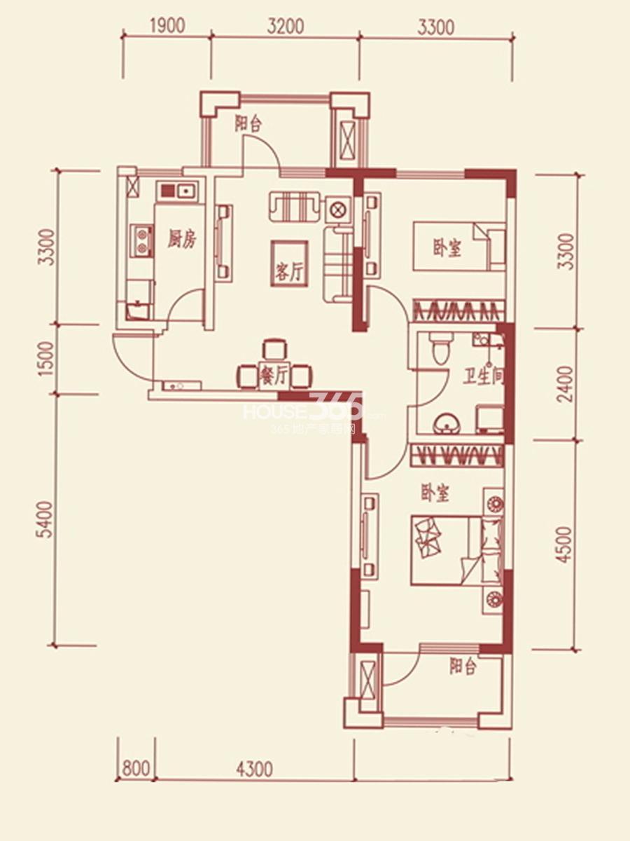 鲁班尚品两室两厅一卫78.11平米户型图