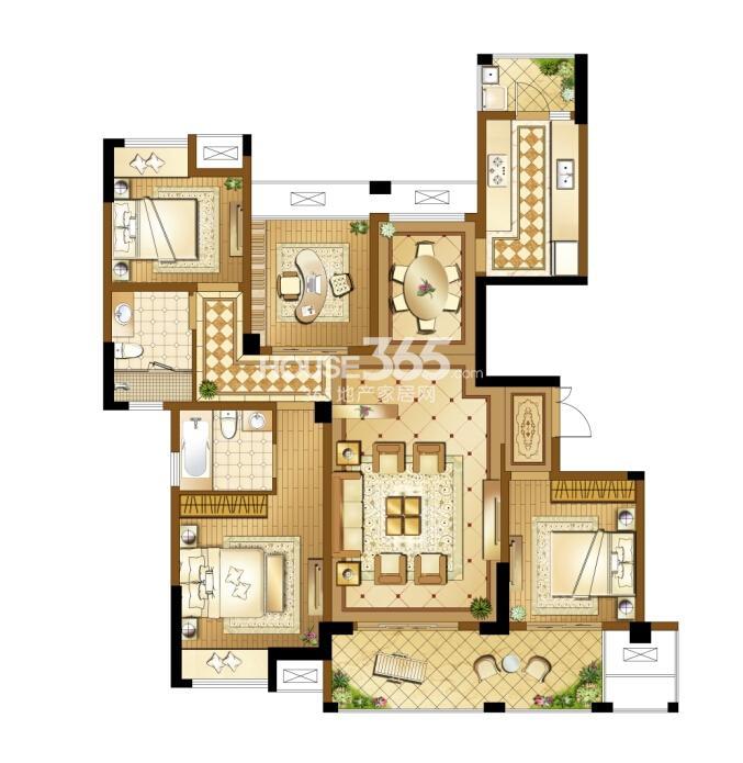 高新地产天之运C4户型图约146平四房两厅两卫