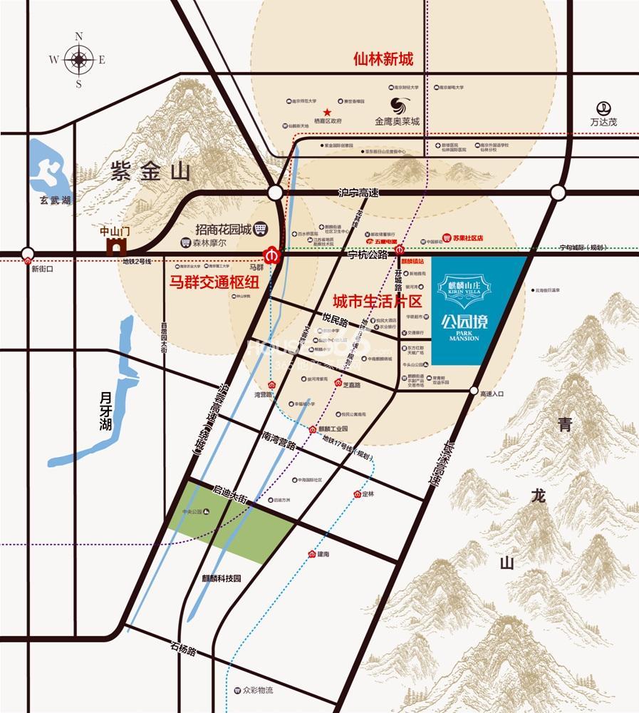 麒麟山庄公园境交通图