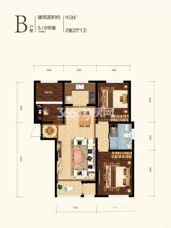 B户型,2室2厅1卫1厨,95㎡