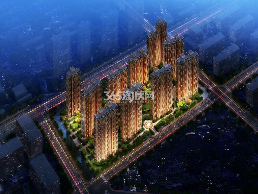 东广场1#地块鸟瞰-夜景图