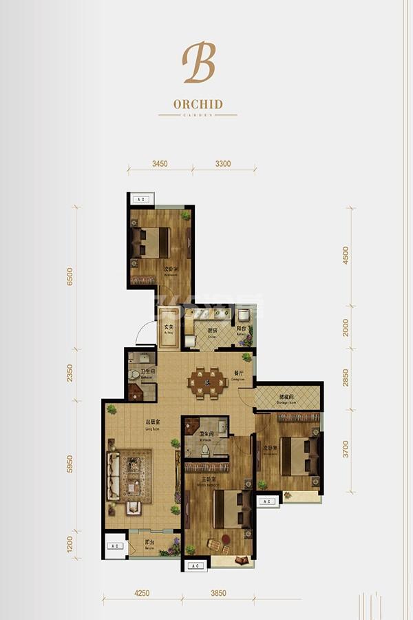 洋房标准层B户型130㎡ 3室2厅2卫