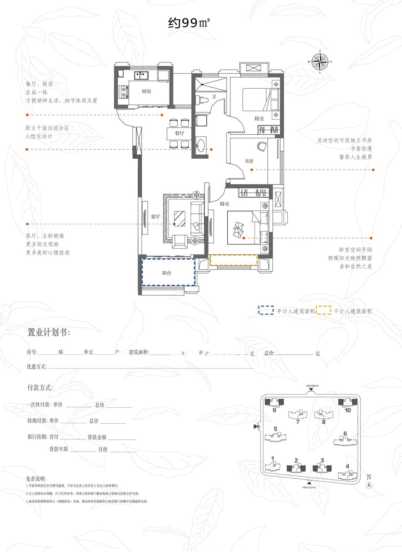 东方名邸2、3#和9、10#楼99平米