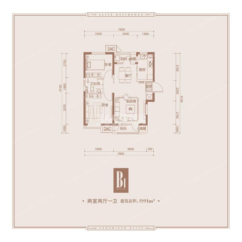 B1 91㎡ 两室两厅一卫