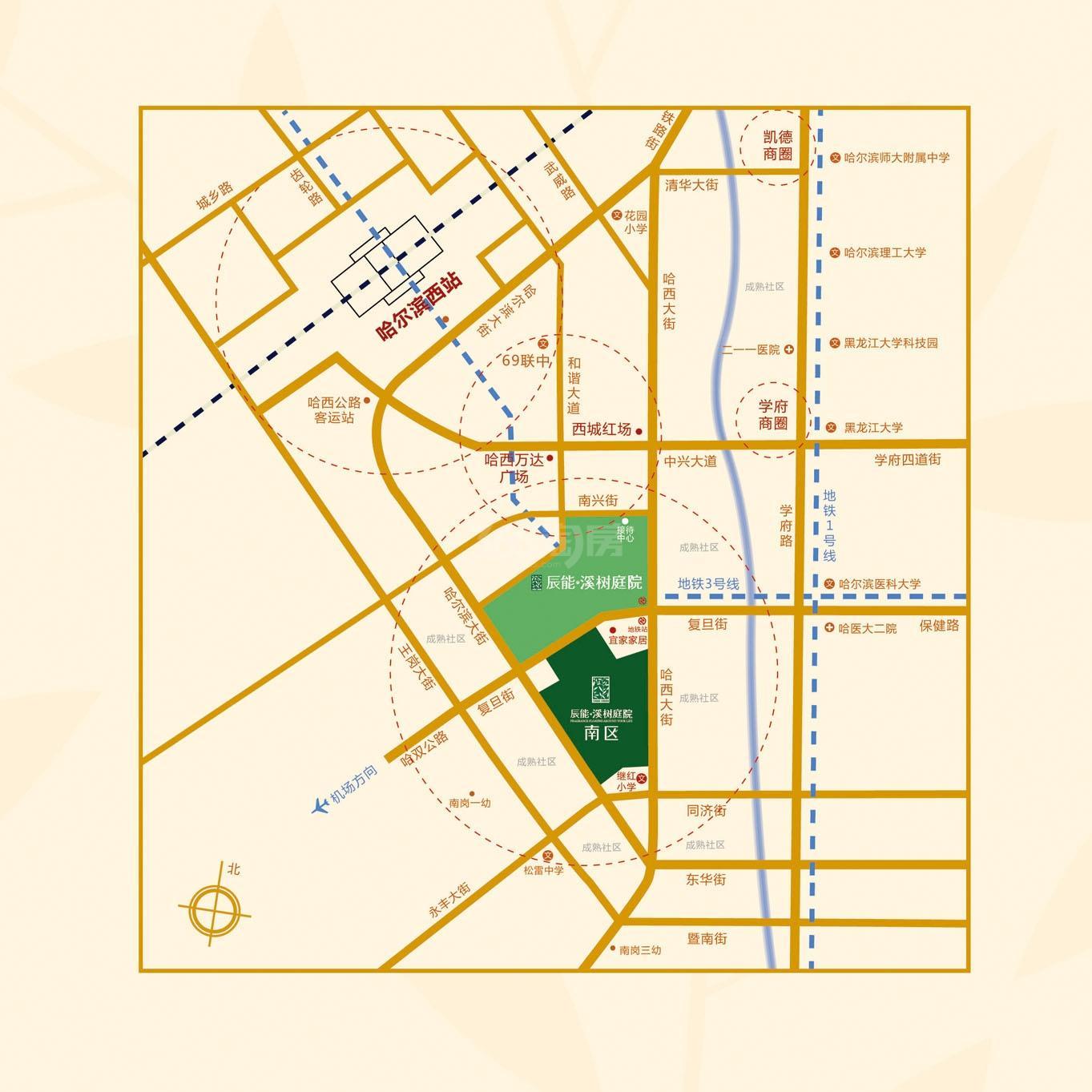辰能·溪树庭院(南区)交通图