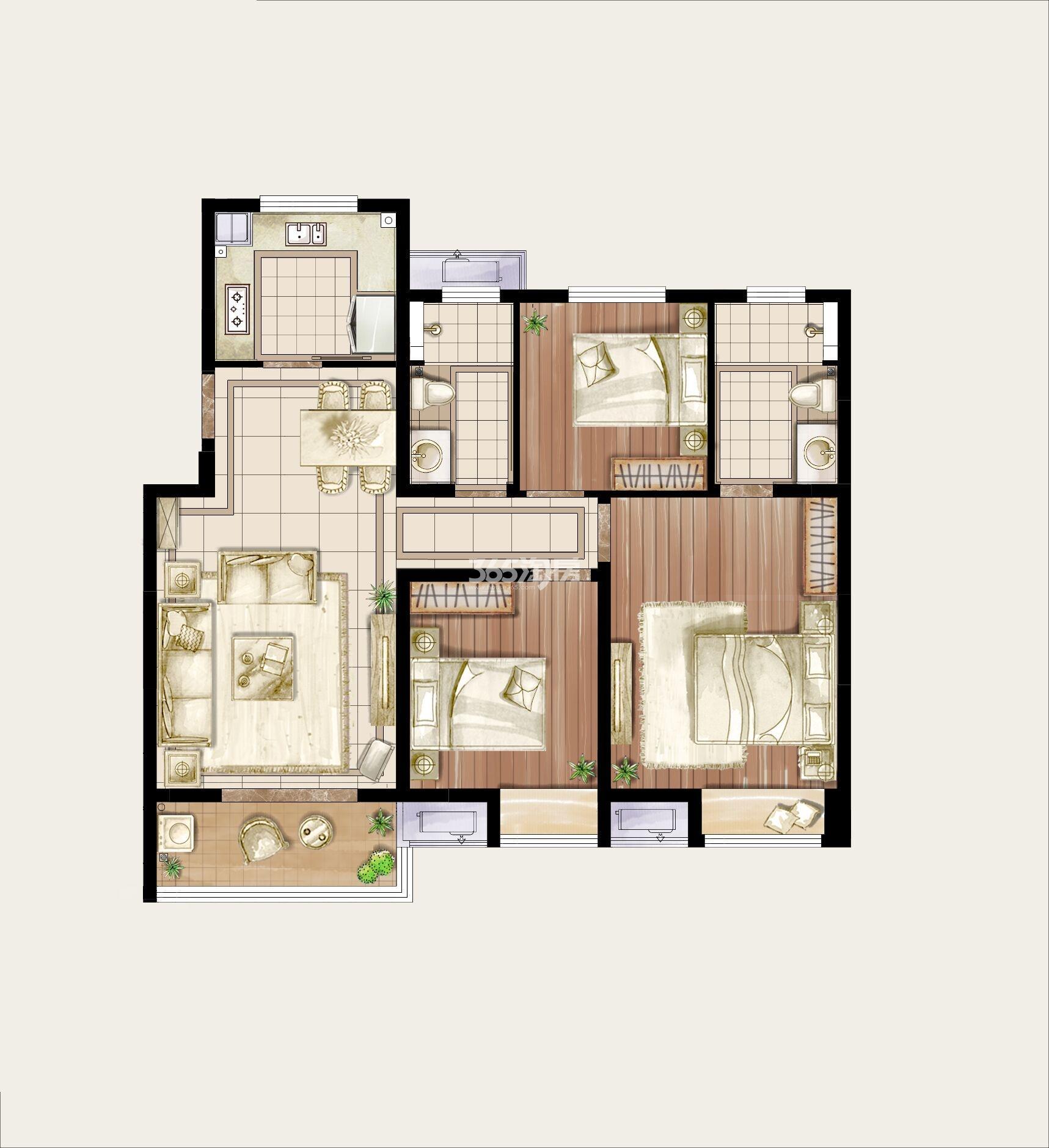 115平精装户型家配图