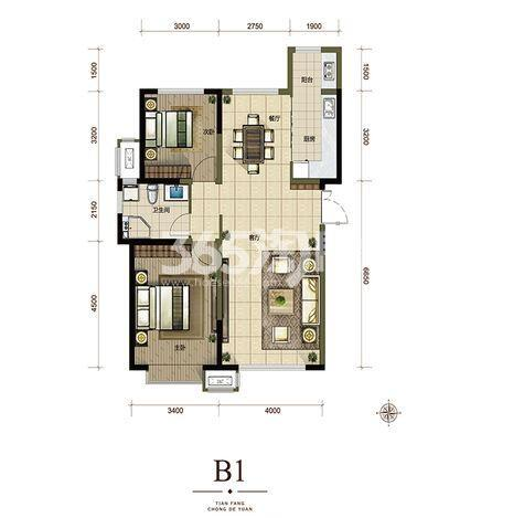 B1户型105㎡2室2厅1厨1卫