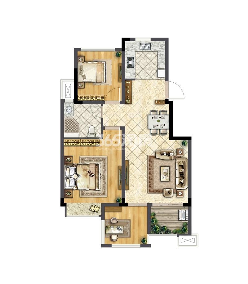 华宇林泉雅舍A户型78平米 两房两厅一卫