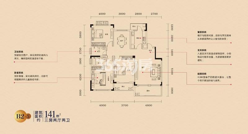 乐富强悦澜湾B2-5户型图141㎡