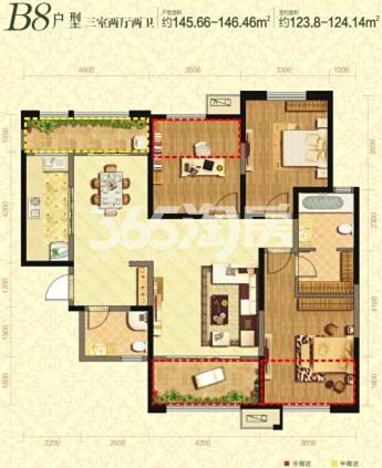 曲江千林郡B8户型3室2厅2卫1厨124.14平米