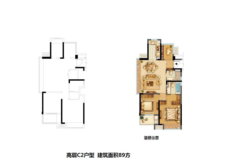旭辉时代城高层1、2、4、5、6、7、8、9、10号楼C2户型 89㎡
