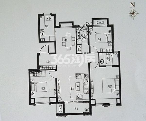 洋房K4户型三室两厅两卫