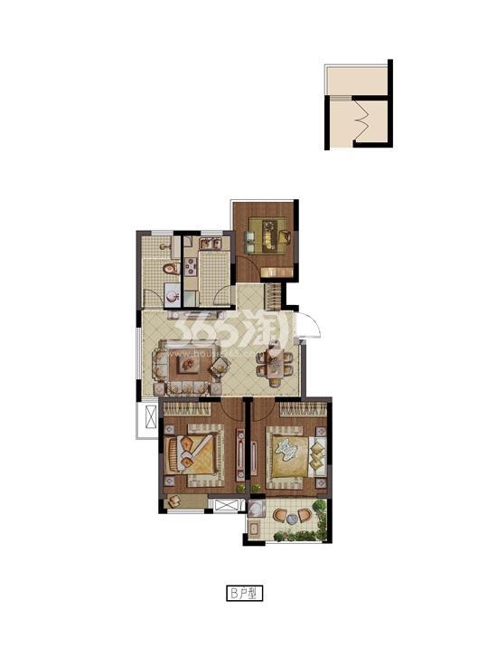 紫金铭苑B户型三房两厅一卫88㎡户型图