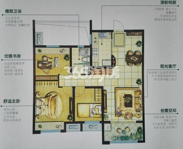 三室两厅两卫 面积:115㎡_徐州美的时代城_徐州新房网