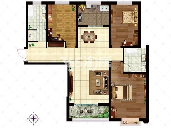 10# A3/B2户型 面积约140.70㎡ 户型三室两厅两卫