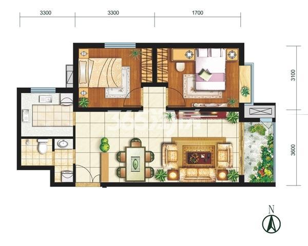 G户型 两室两厅一卫 建筑面积约85.56㎡