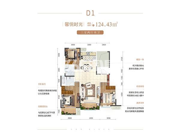 金辉优步花园 D1户型3室2厅2卫1厨124㎡