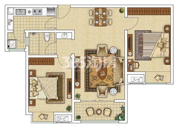 12#B 两室两厅户型图