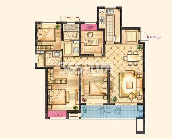红豆香江豪庭二期128平悦境户型图