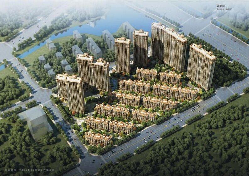 中国铁建西湖国际城鸟瞰图