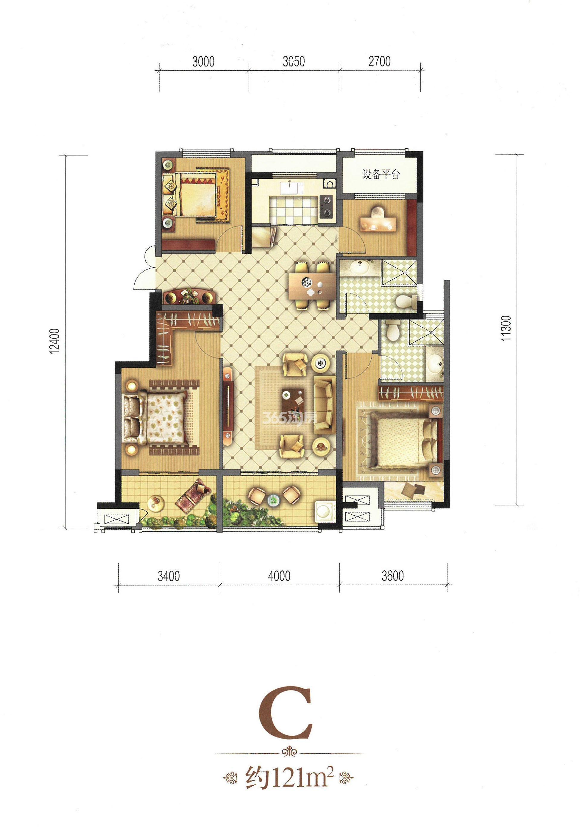 C-121㎡四房两厅一厨两卫