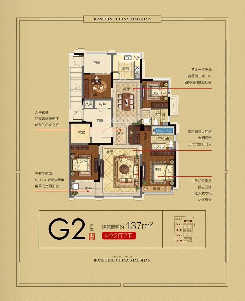 融信永兴首府G2户型高层约137方 (17、19-26#)