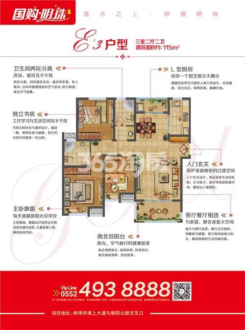 蚌埠国购广场-国购明珠 E3 三室二厅二卫115㎡