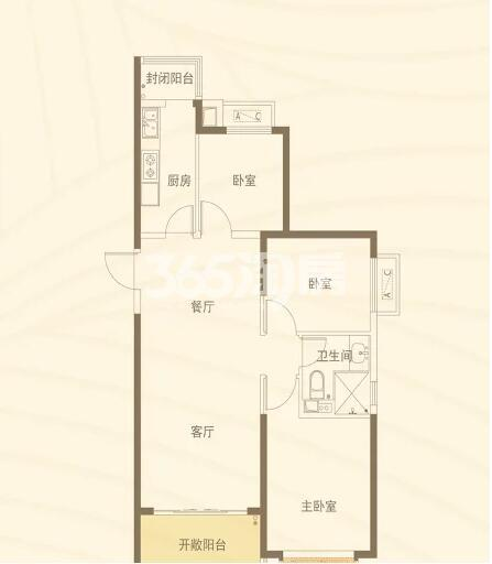 恒大都市广场 3室2厅1厨1卫107.58㎡
