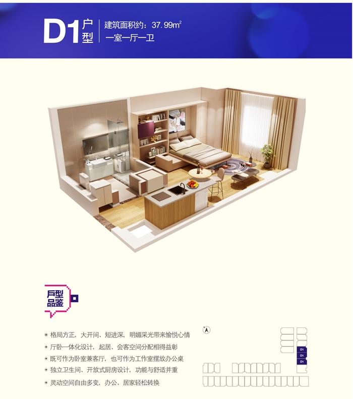 KingMall未来中心D1户型一室一厅一卫37.99㎡