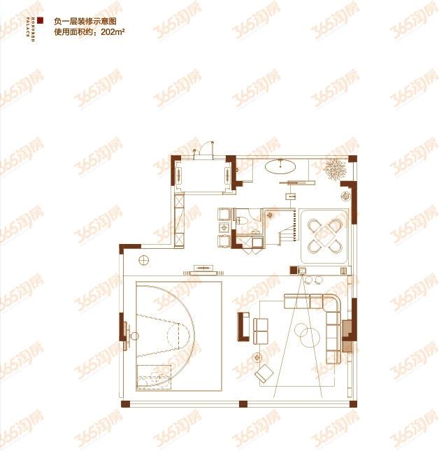 首层院墅户型图——负一层装修示意图